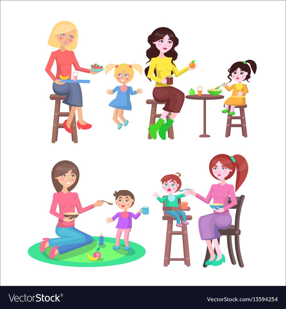 Mothes feeding naughty children set on white vector image