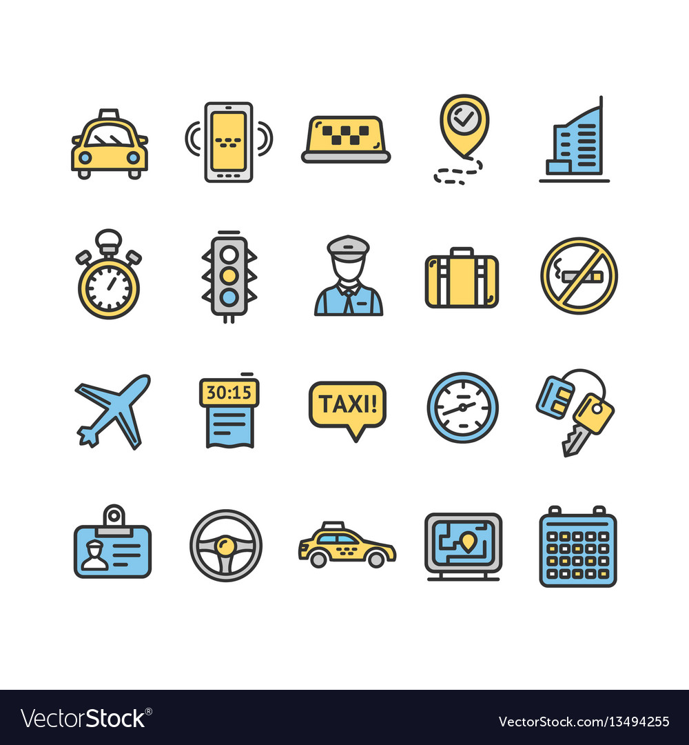 Taxi services color icon thin line set vector image