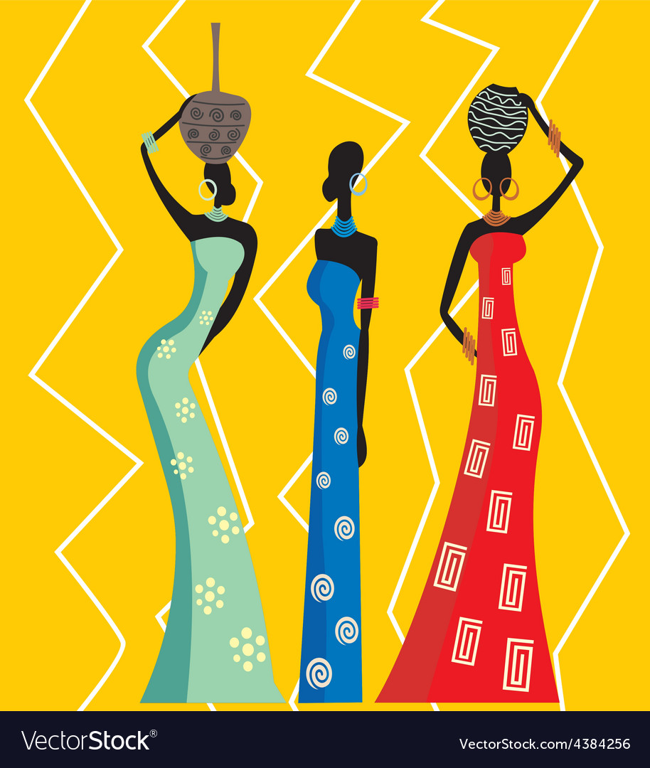 Beautiful african women vector image