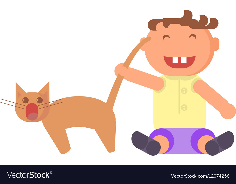 Boy pulls the cats tail vector image
