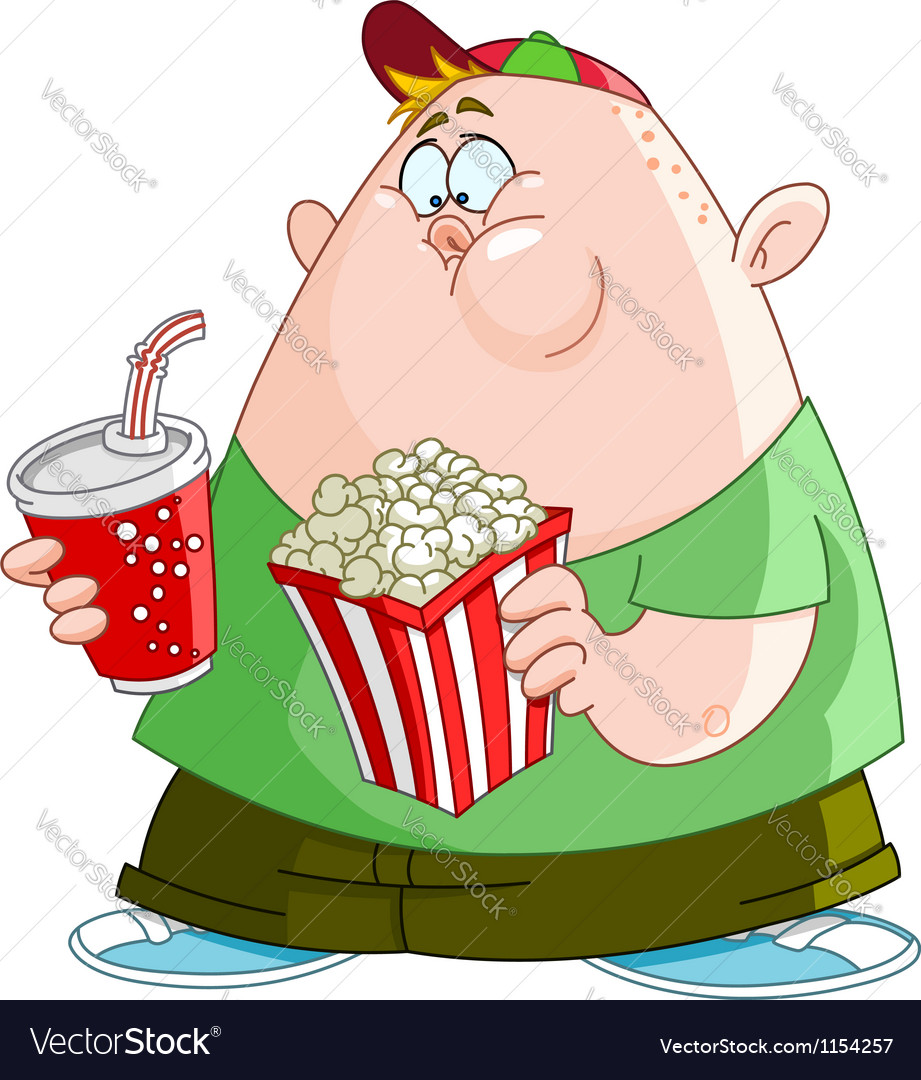 Kid with popcorn and soda vector image