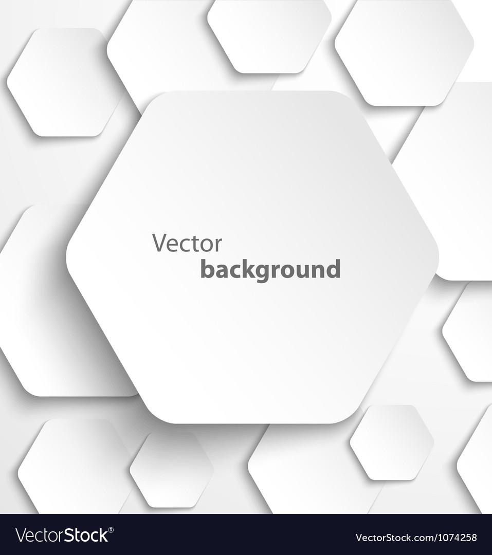 Paper hexagon banner with drop shadows vector image