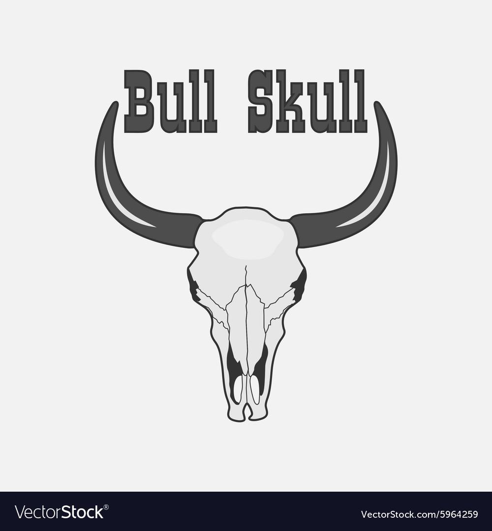 Black and white Cow Skull Logo vector image