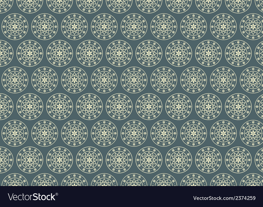 Retro Circle and Star Pattern on Pastel Color vector image