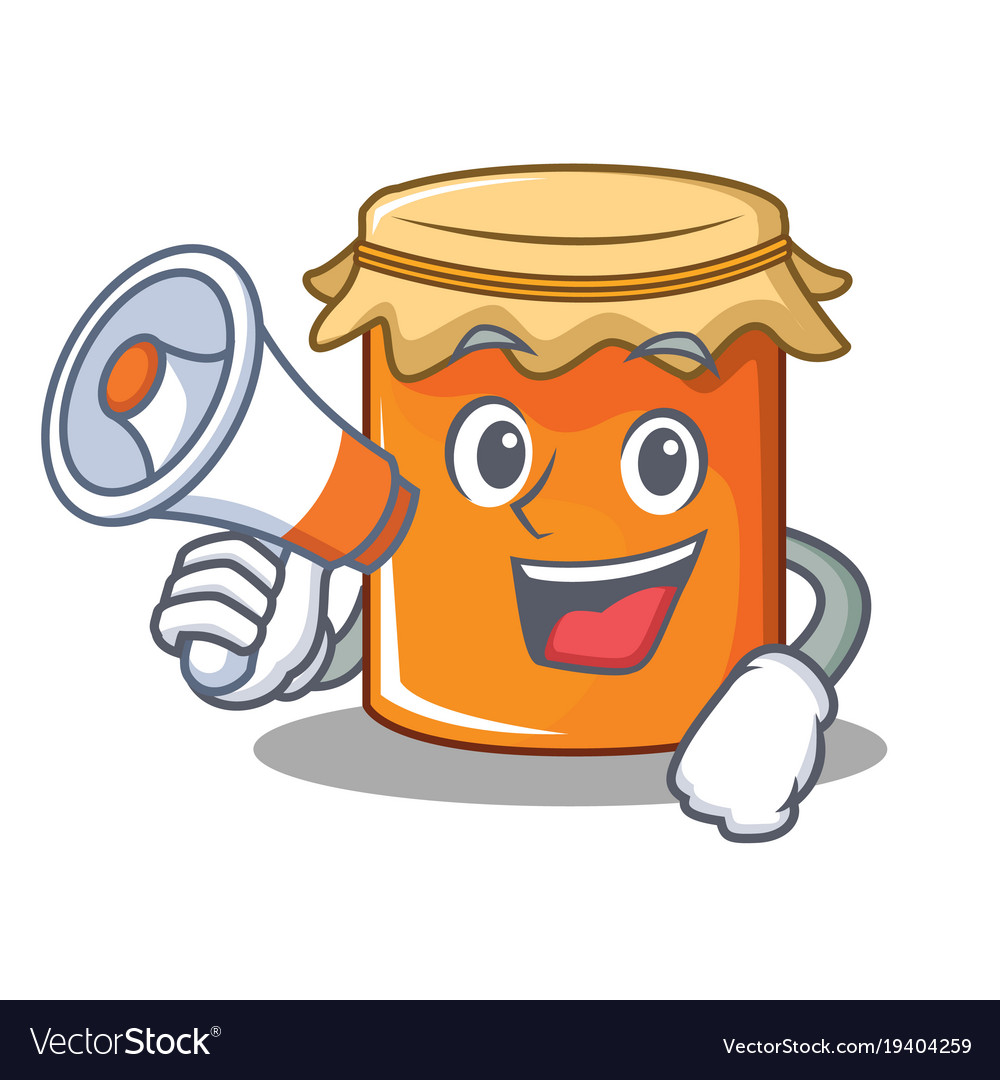 With megaphone jam character cartoon style vector image