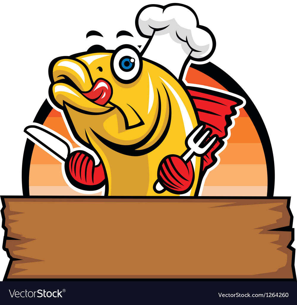 Cartoon of fish chef vector image