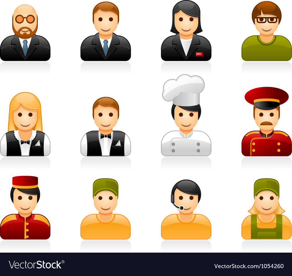 Hotel and restaurant staff icons vector image