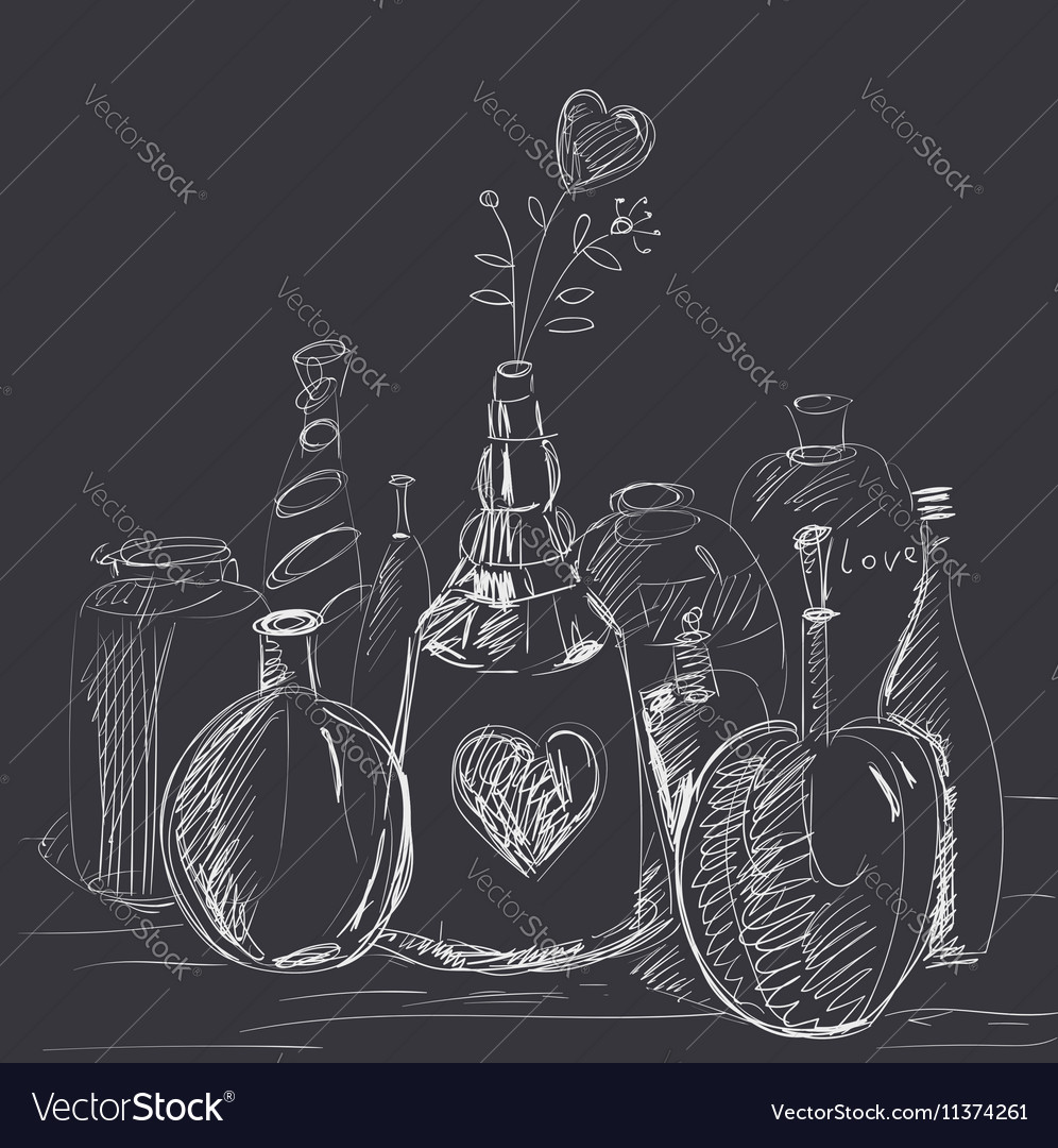 Phials with flower-heart vector image