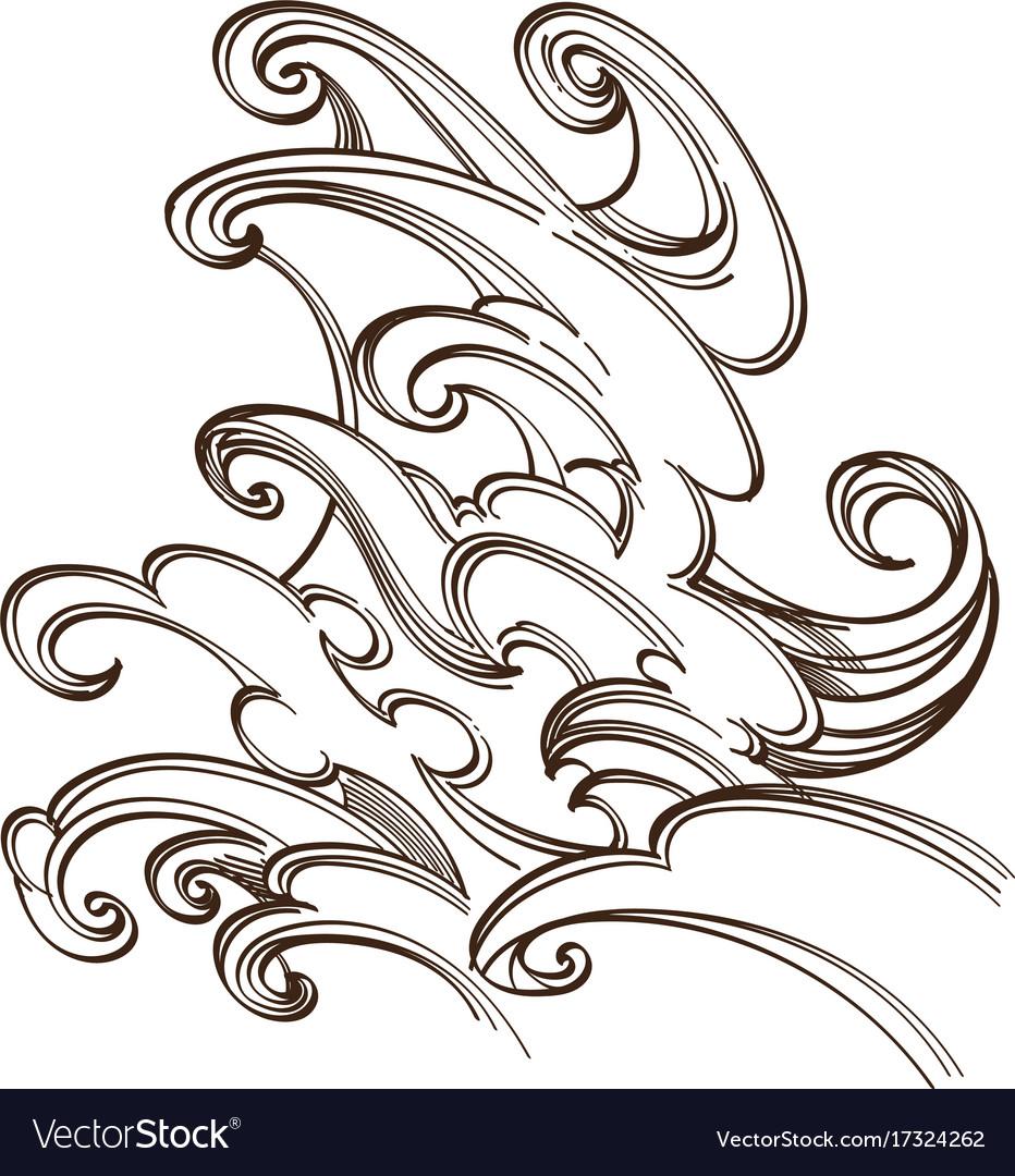 Sea or ocean wave water splash hand drawn sketch vector image