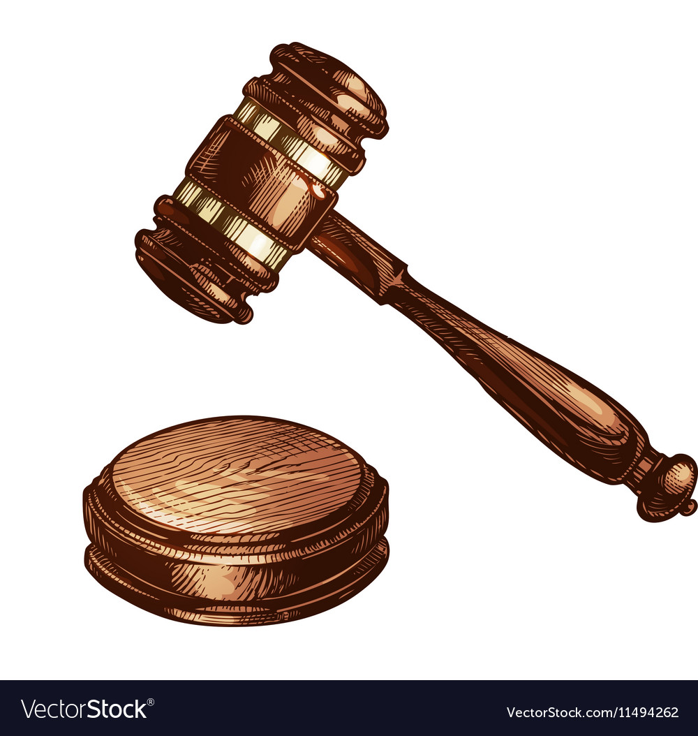 Wooden judges gavel isolated vector image