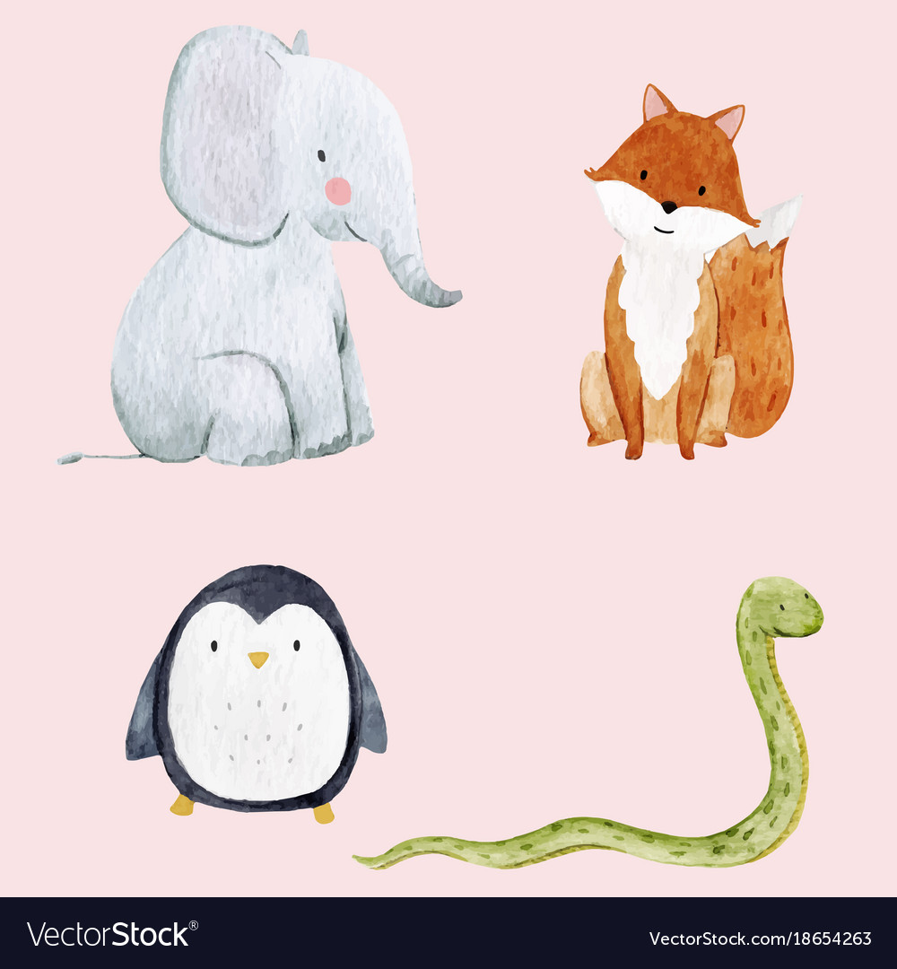 Cute watercolor animal set vector image