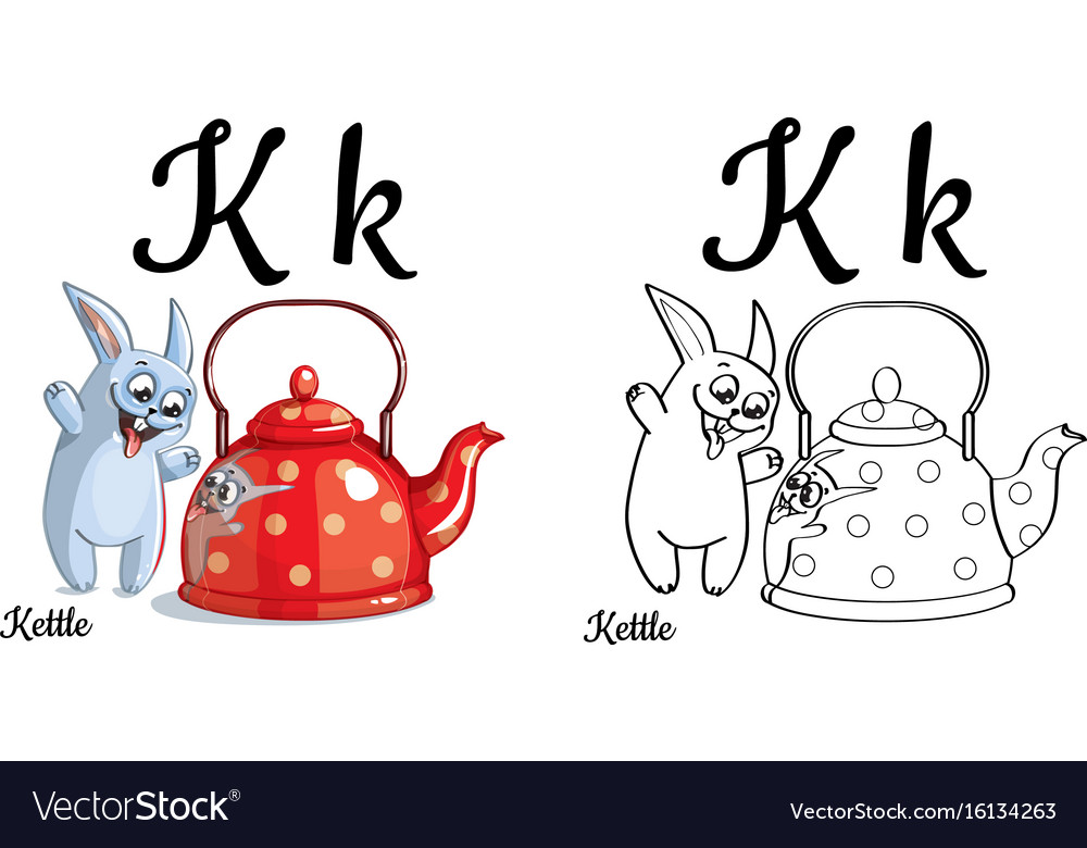 Kettle alphabet letter k coloring page vector image