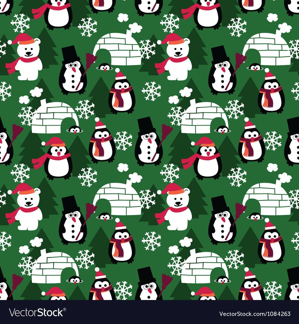 Winter fun seamless background vector image