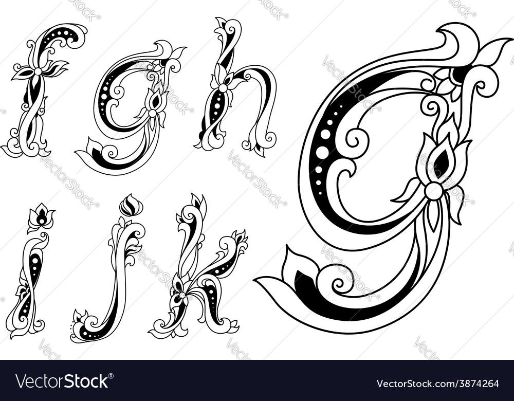 Floral Ornamental Outline Sketch Letters Font Vector Image