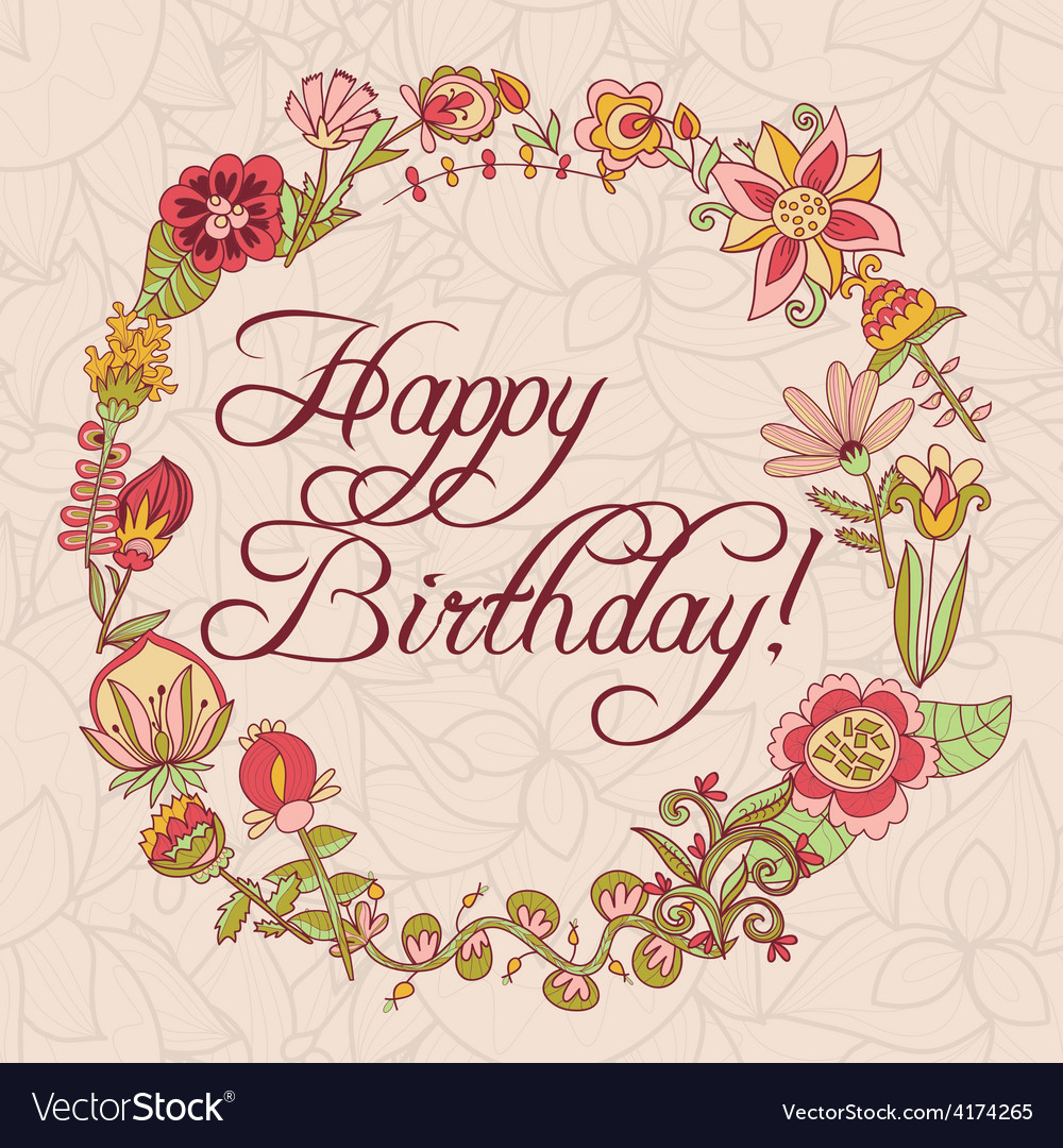 Happy birthday greeting card circle floral frame vector image kristyandbryce Image collections