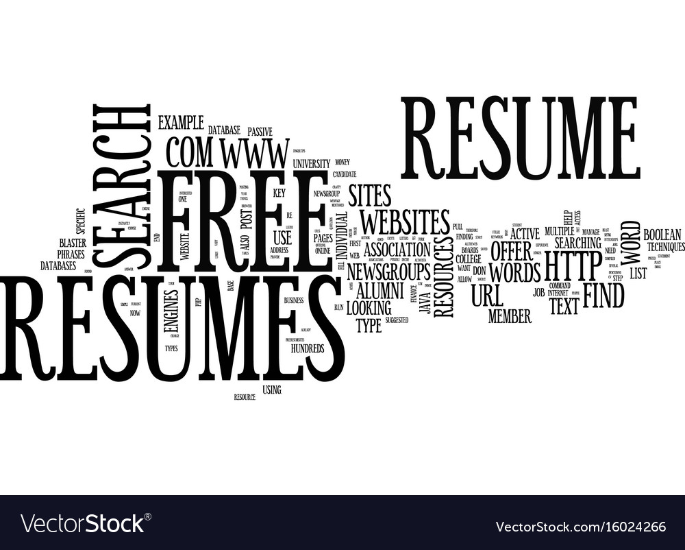 find free resumes online text background word vector image