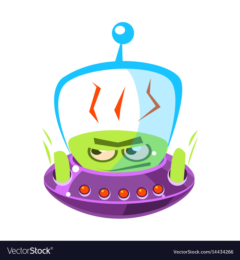 Flattened flushed green alien cute cartoon vector image