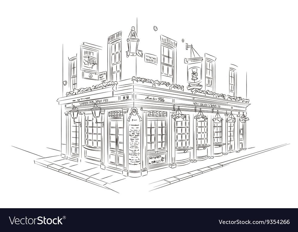 London Pub Sketch vector image