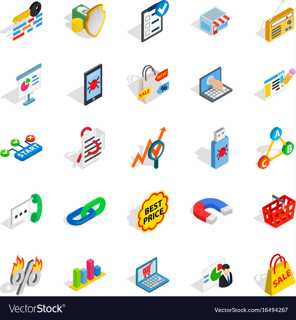 It engineering icons set isometric style vector image