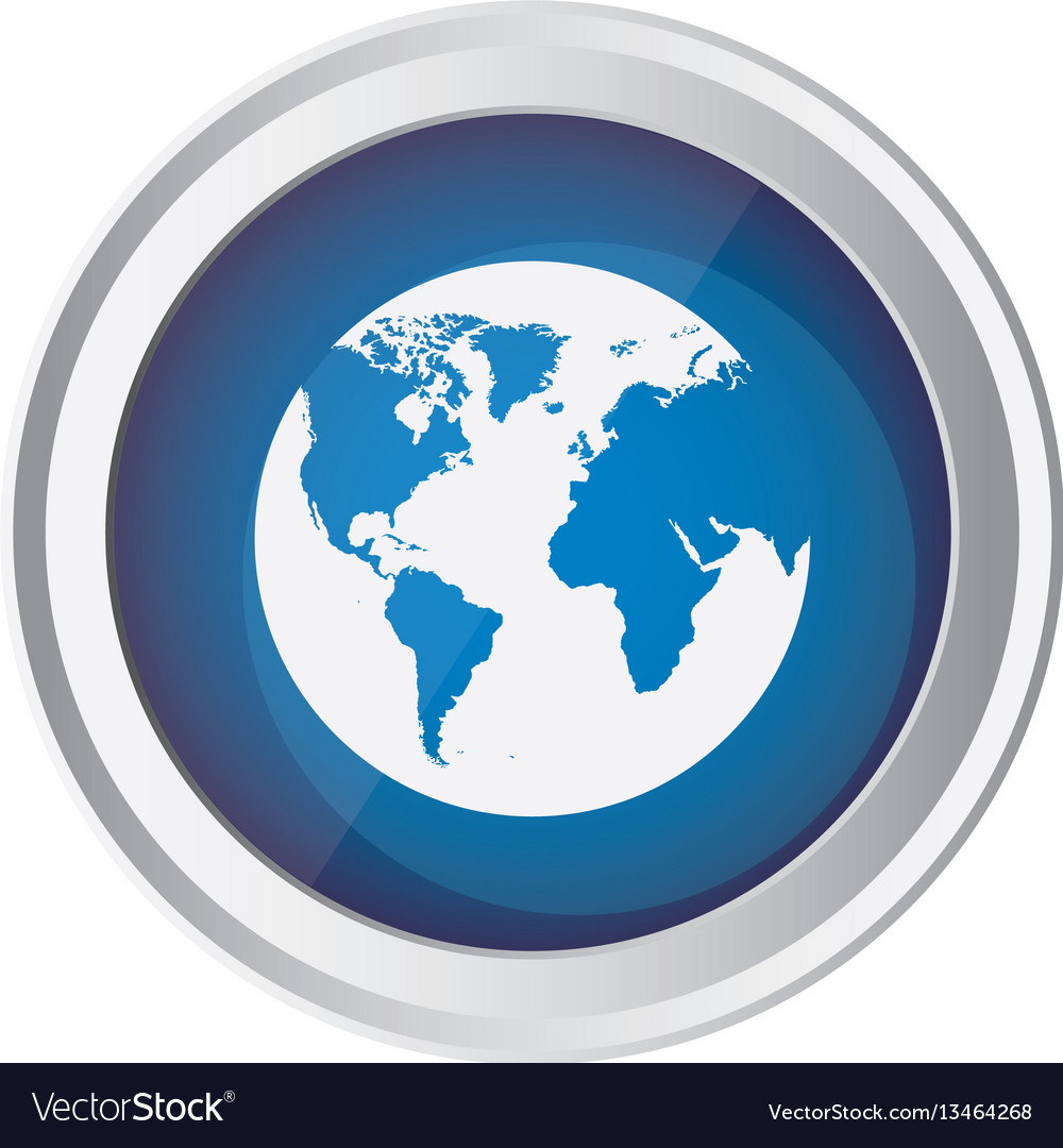 Blue emblem earth planet icon vector image