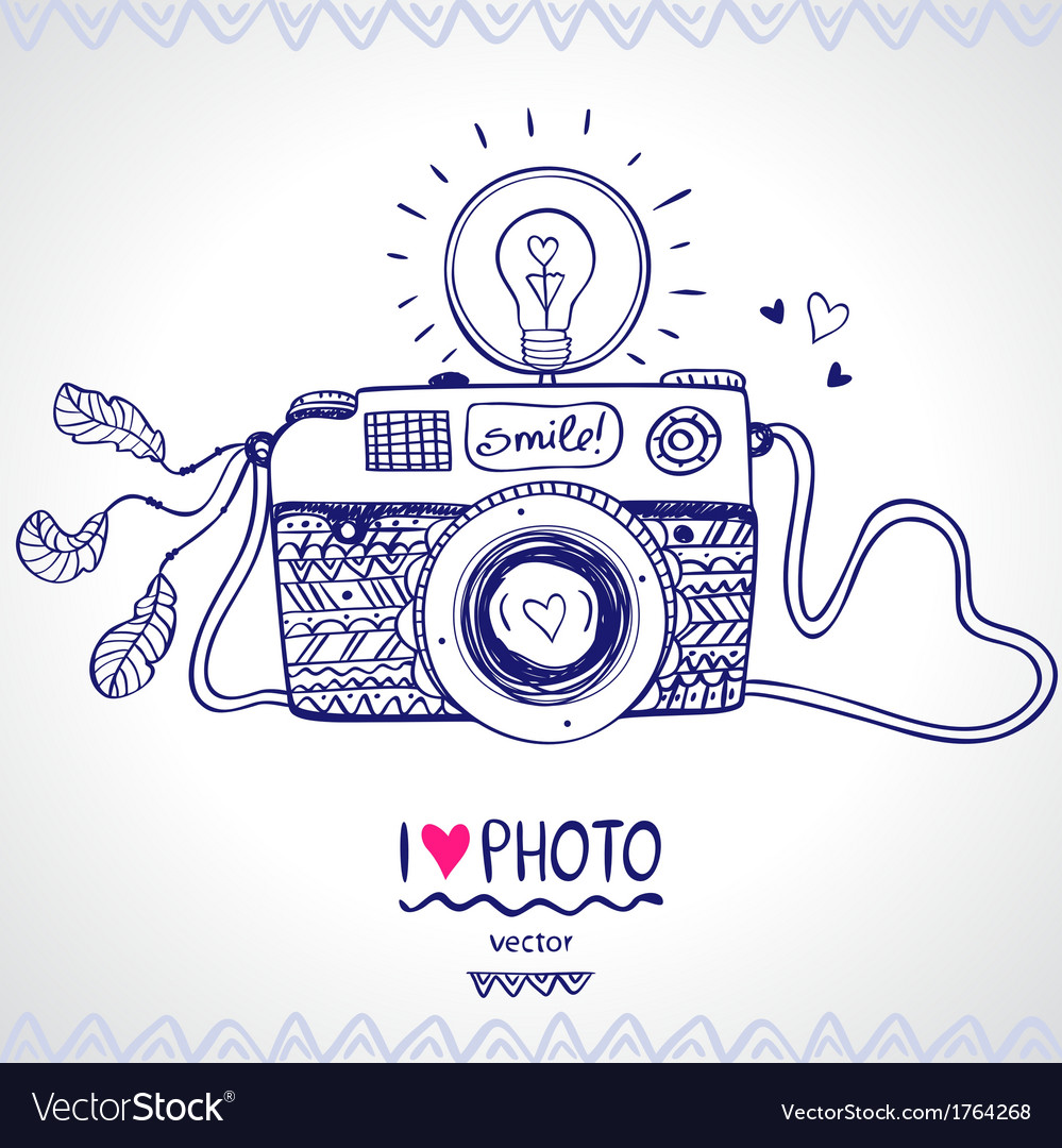 Camera sketch vector image