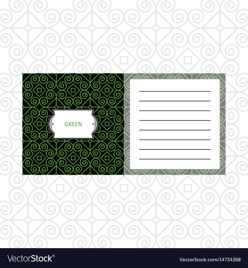 Notepad design with green geometric pattern vector image