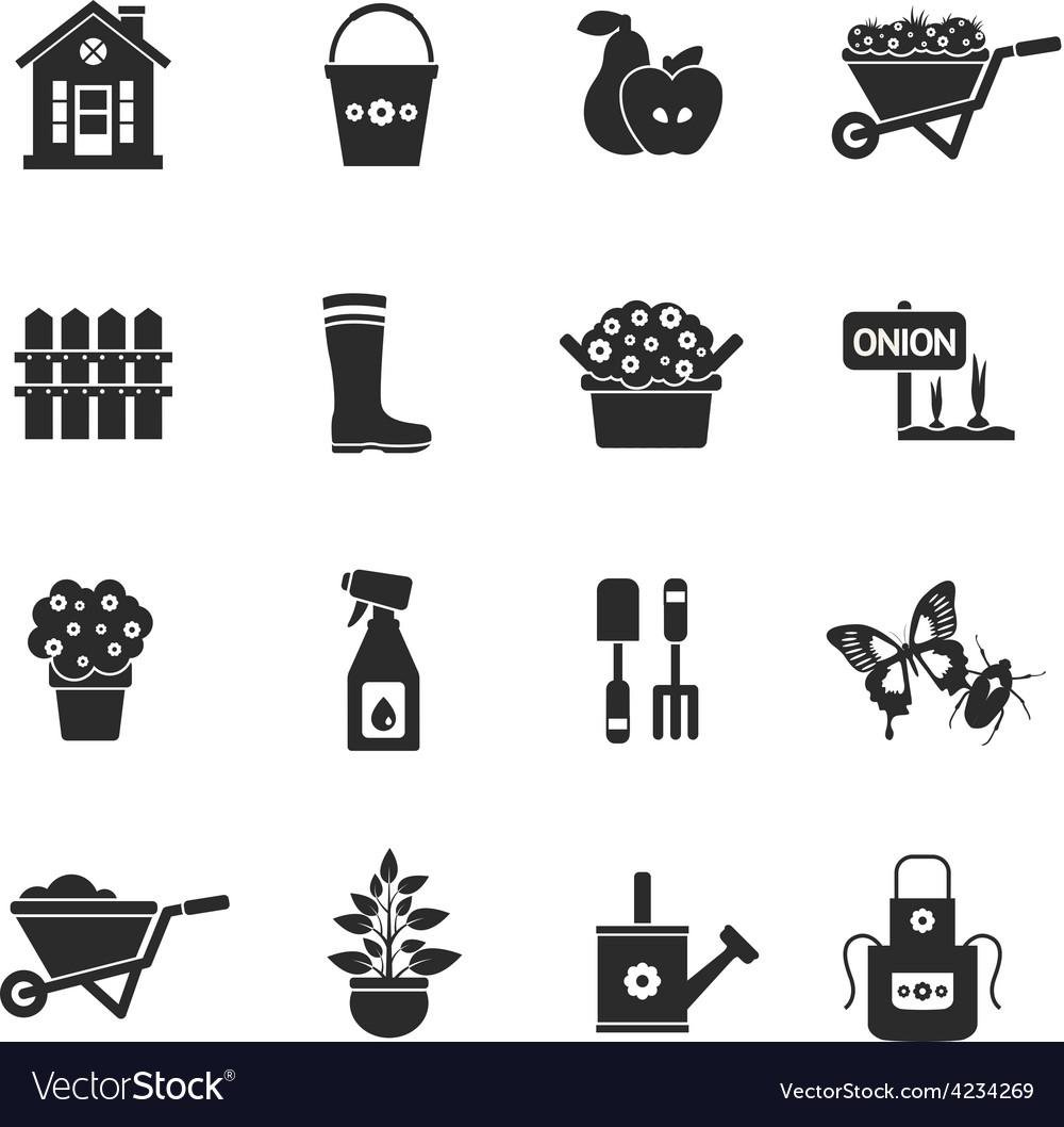 Gardening Black Icons Set vector image