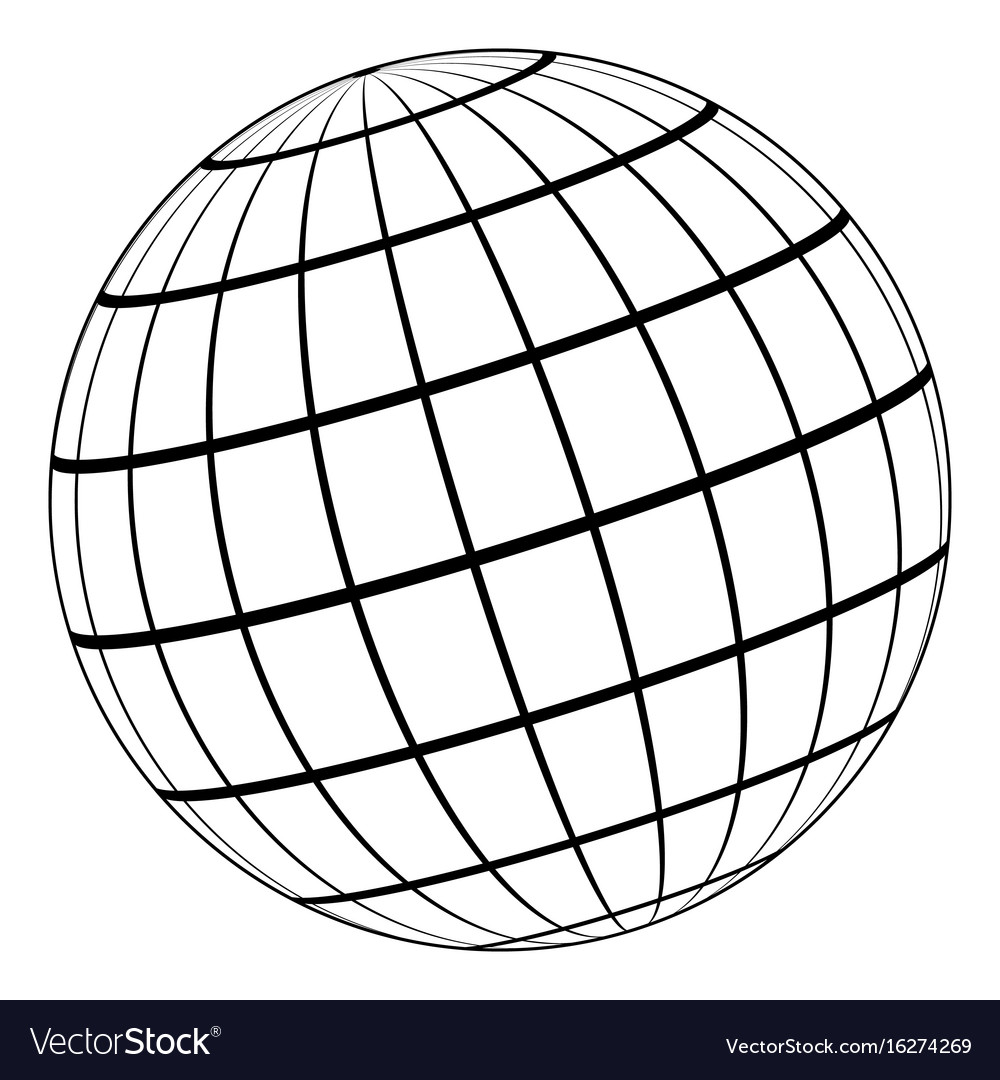 Globe 3d model earth or planet meridian parallel vector image