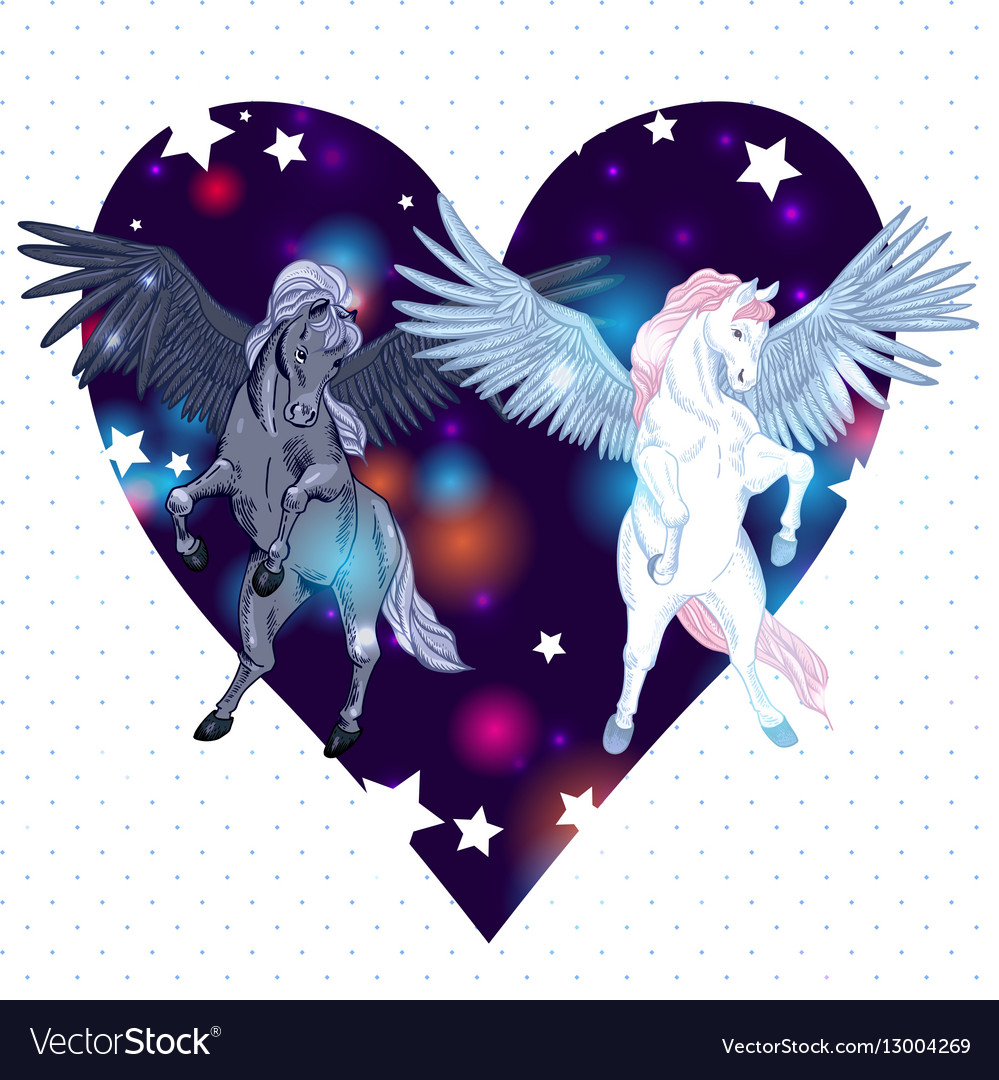 With pair winged pegasus vector image