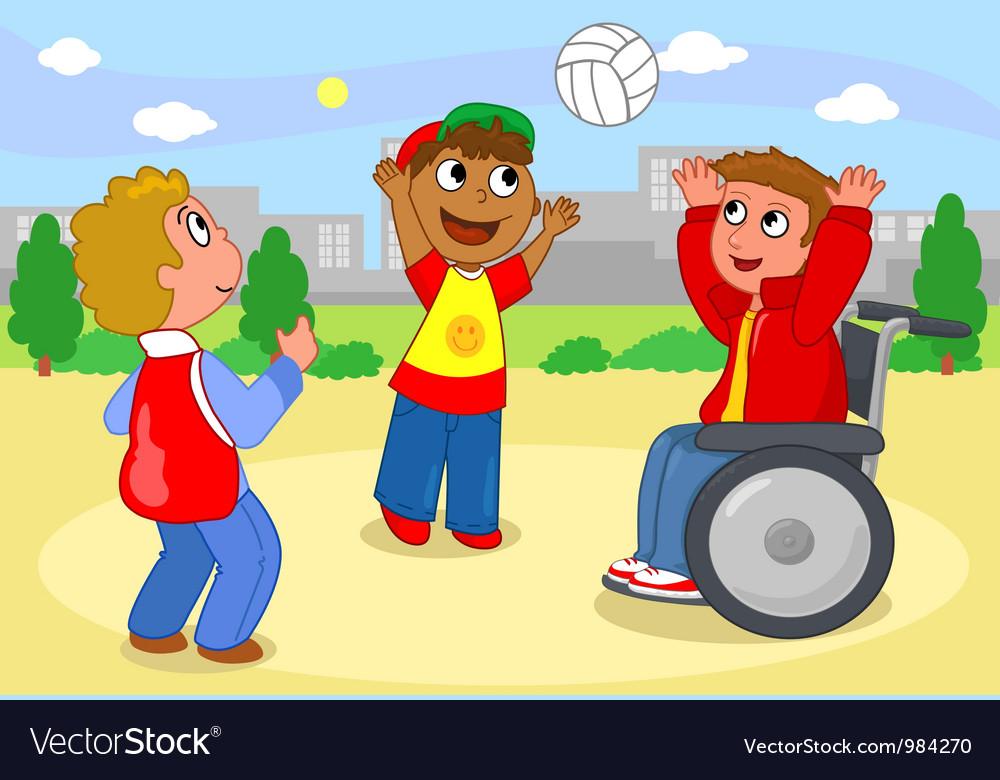 Boys palying with ball vector image