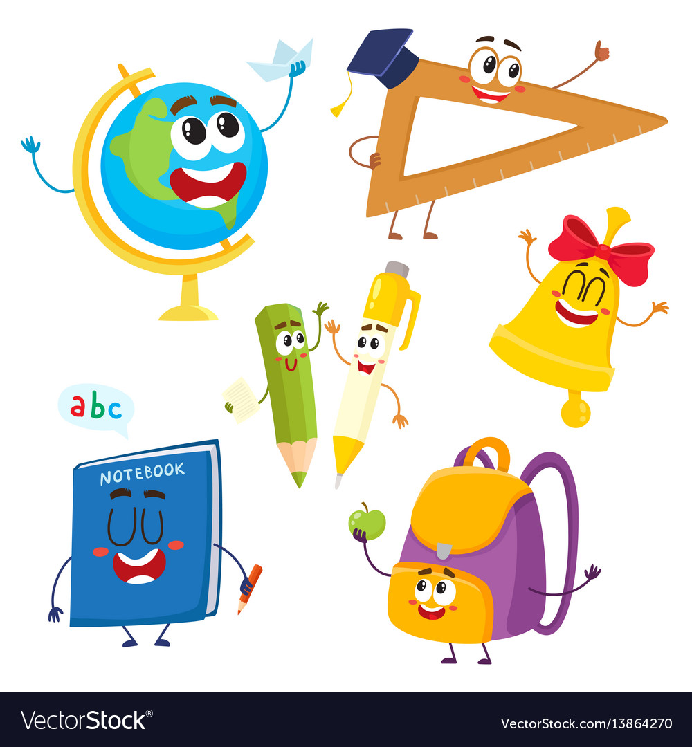 Cute and funny school item characters with smiling vector image