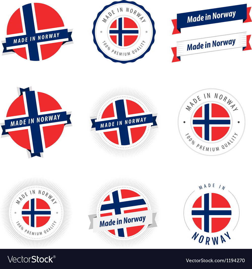 Set of Made in Norway labels and ribbons vector image