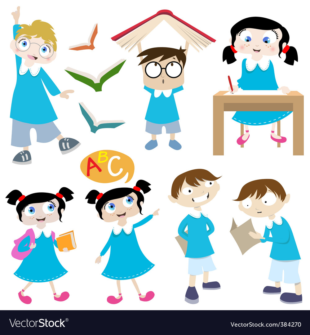Students cartoon vector image