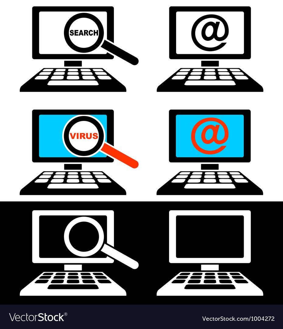 Icons of computer monitors vector image