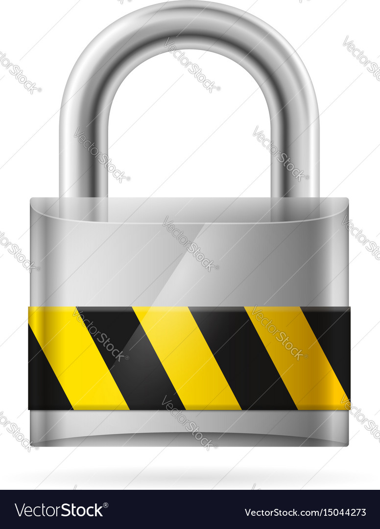 Security concept with locked pad lock on white vector image