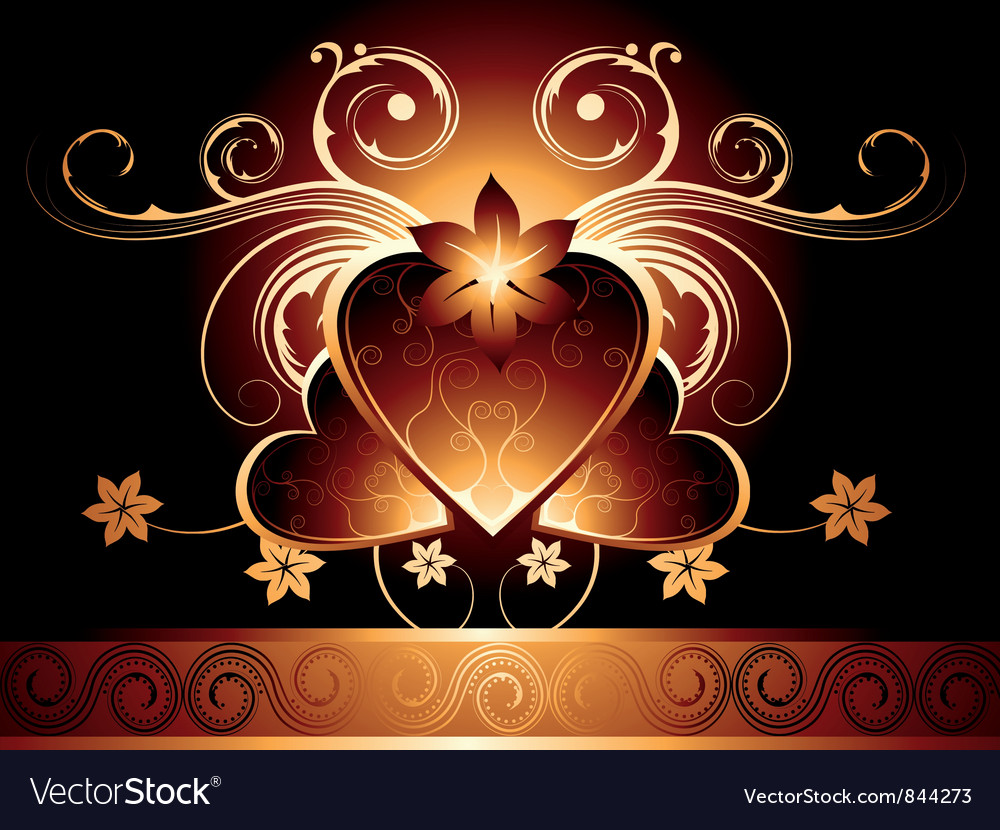 Vintage design with hearts vector image