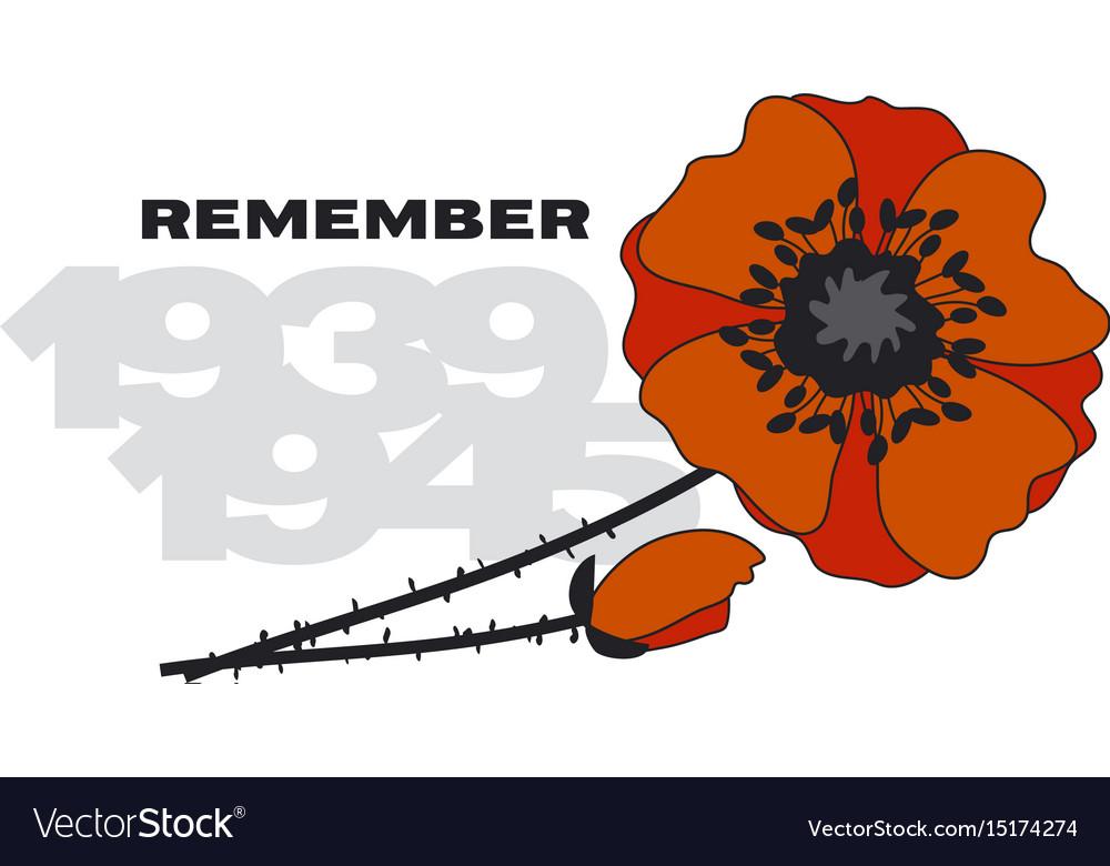 Isolated poppy flower poster vector image