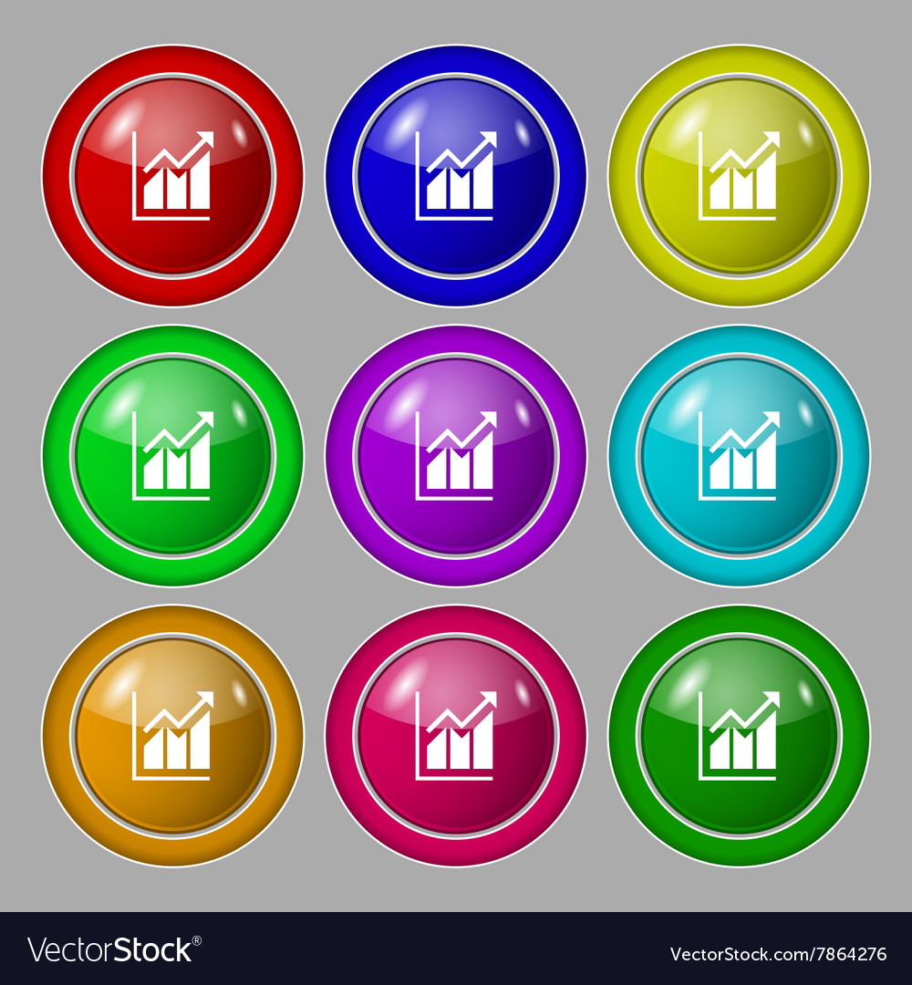 Growing bar chart icon sign symbol on nine round vector image