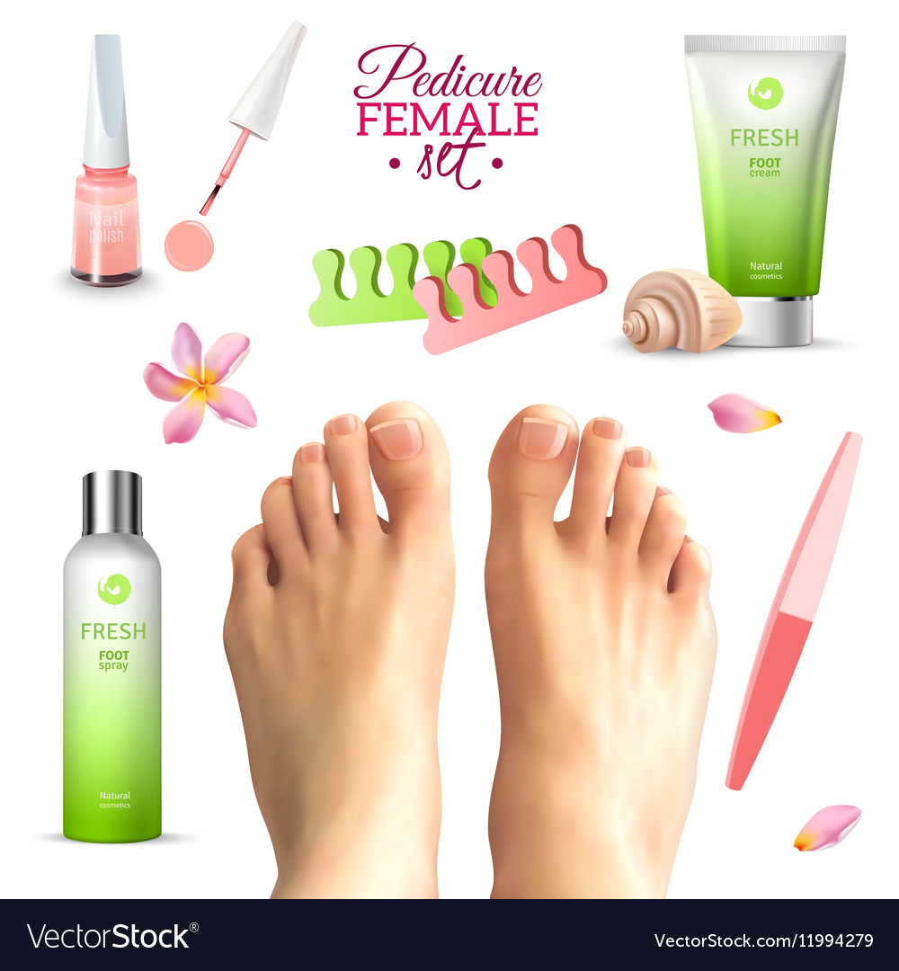 pedicure female feet set royalty free vector image