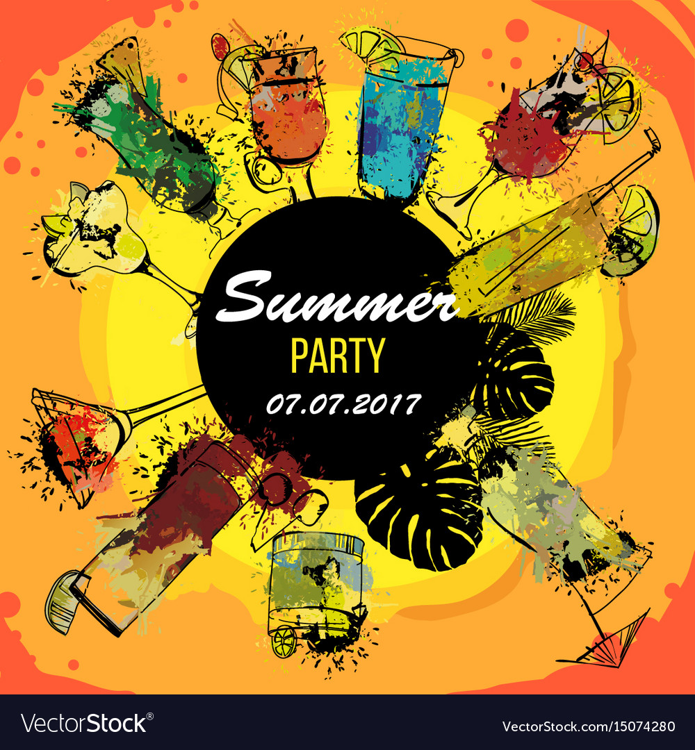 Cocktail party poster designer vector image