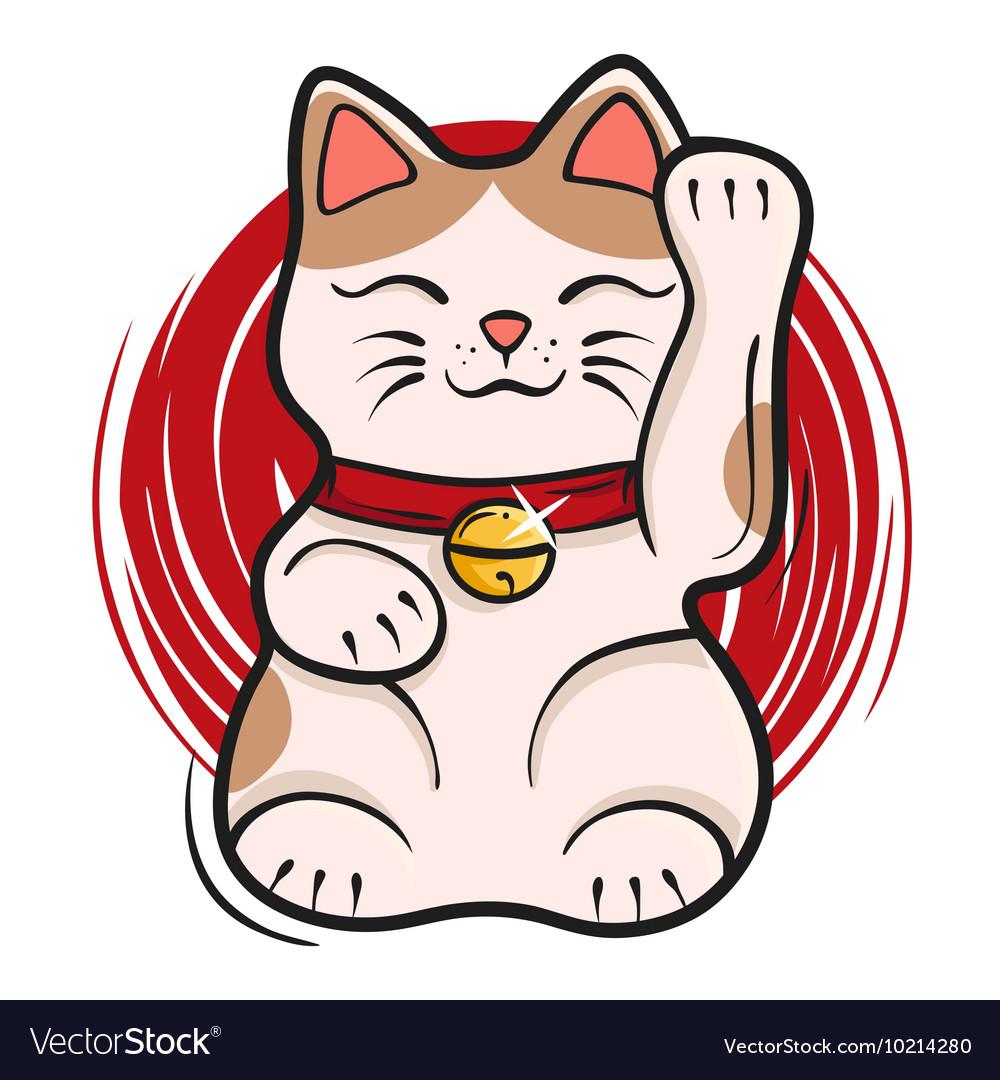 Maneki neko Japanese lucky cat fortune symbol vector image