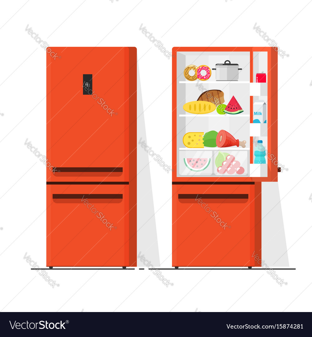 Refrigerator flat cartoon vector image