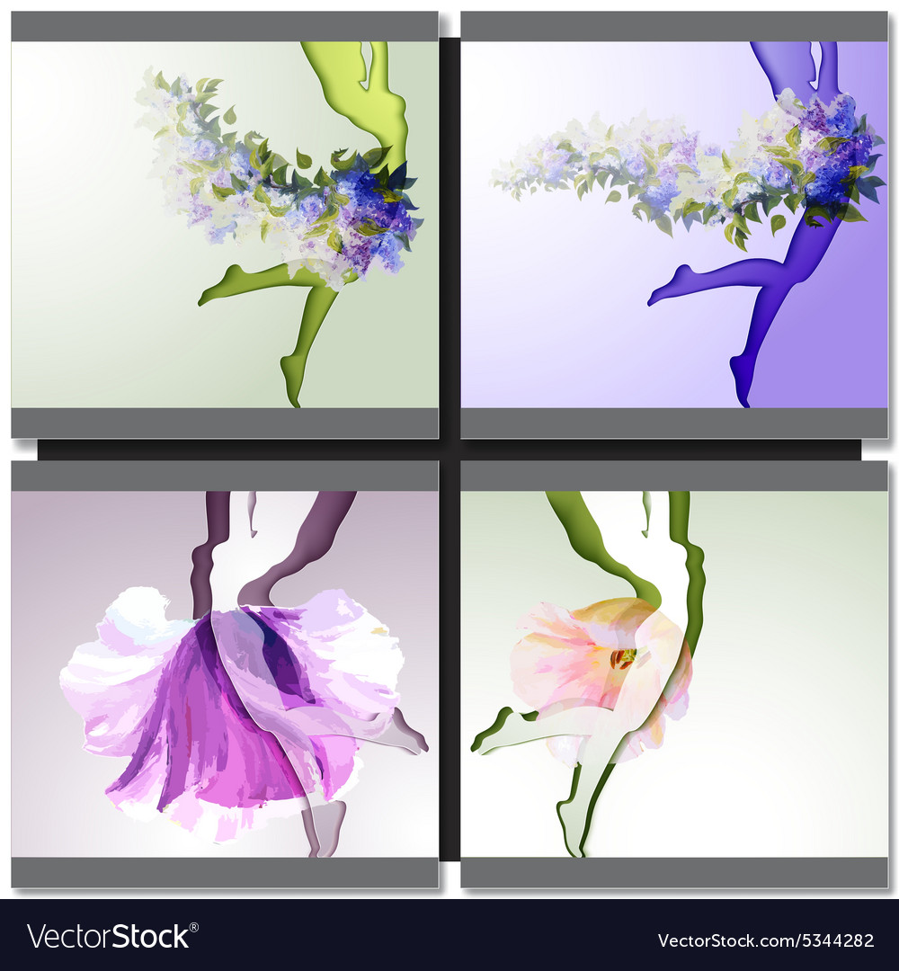 Dancing girl with flowers clothes vector image