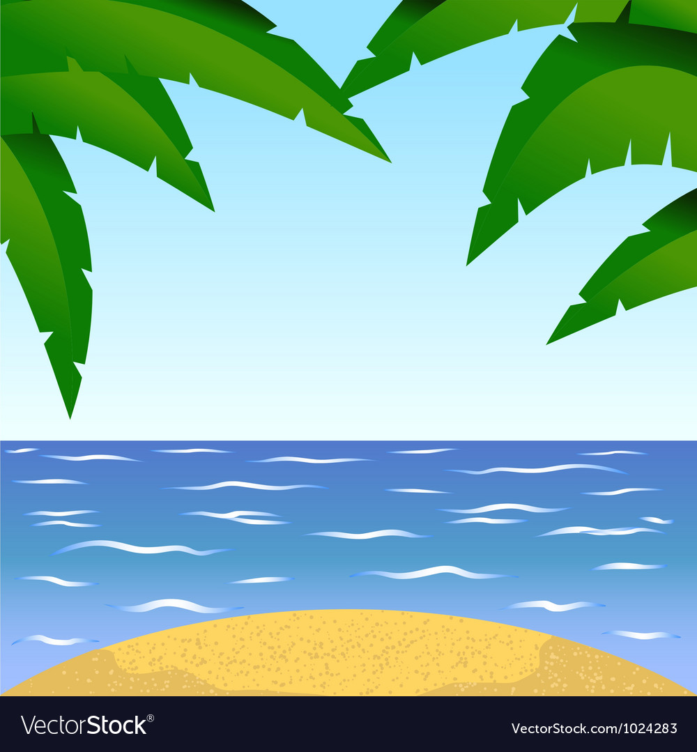Summertime at the beach with palm vector image