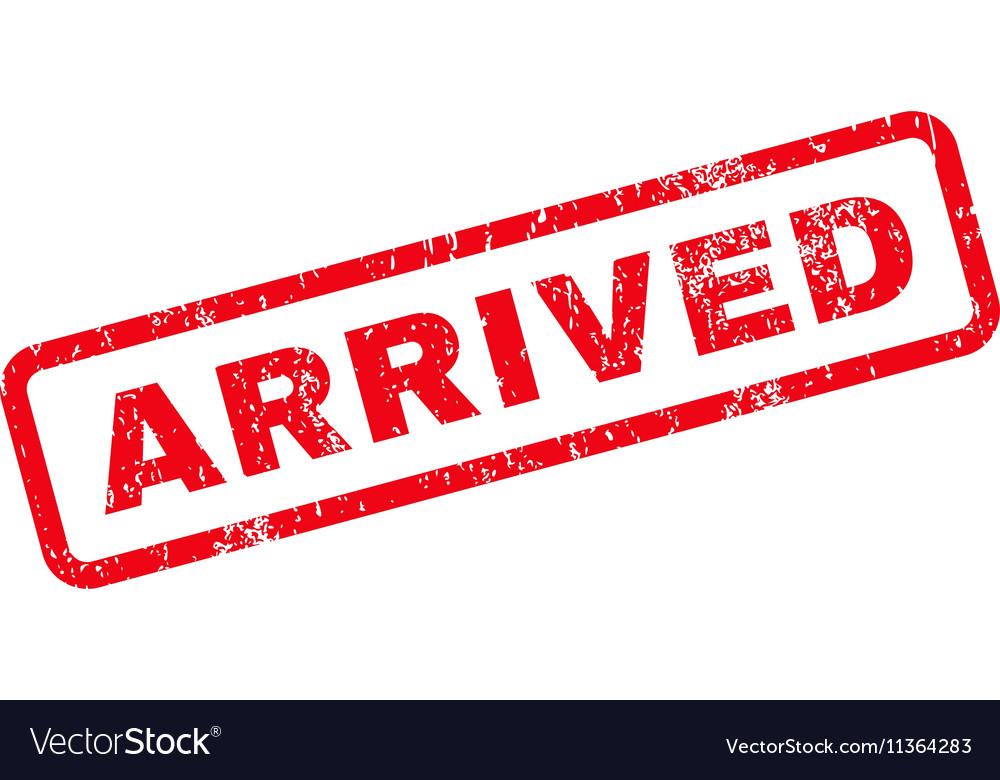 Arrived Text Rubber Stamp vector image