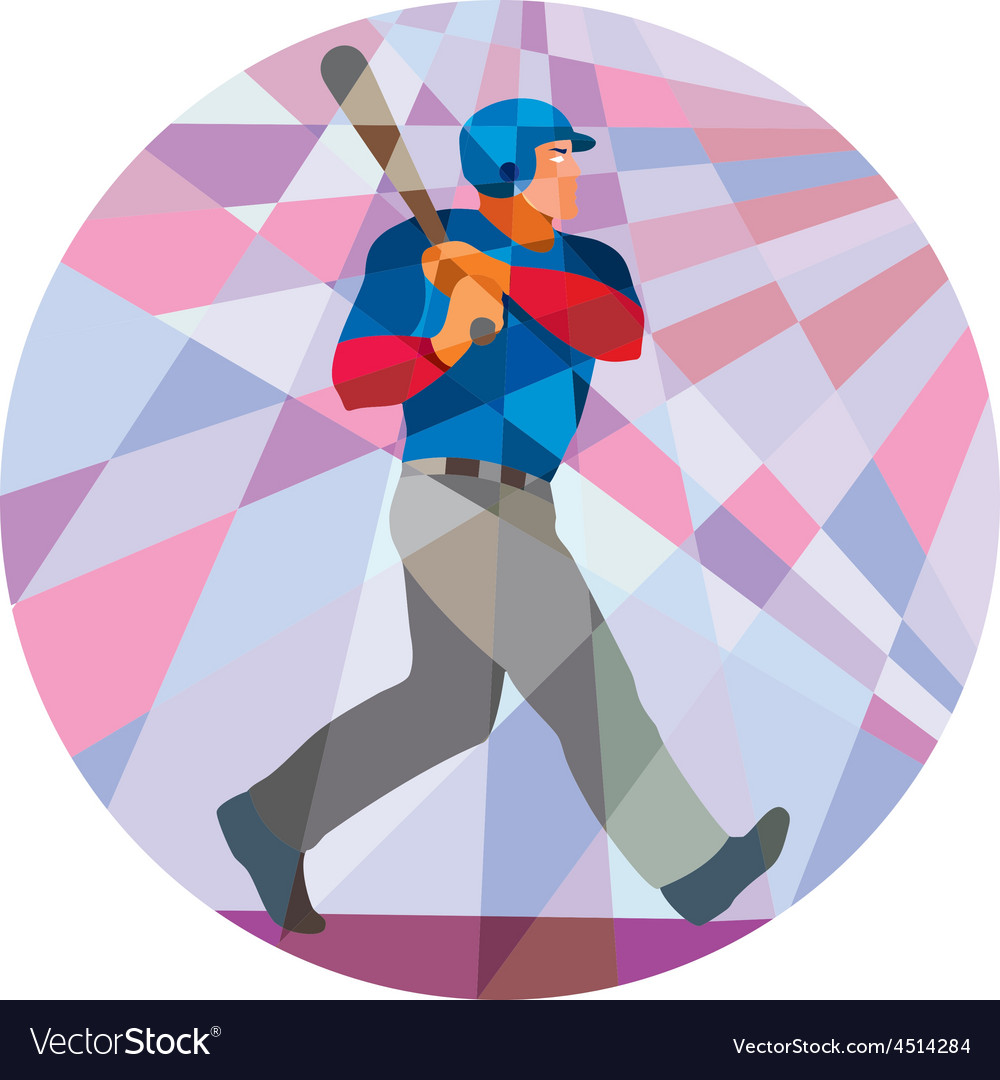 Baseball Batter Hitter Batting Low Polygon vector image