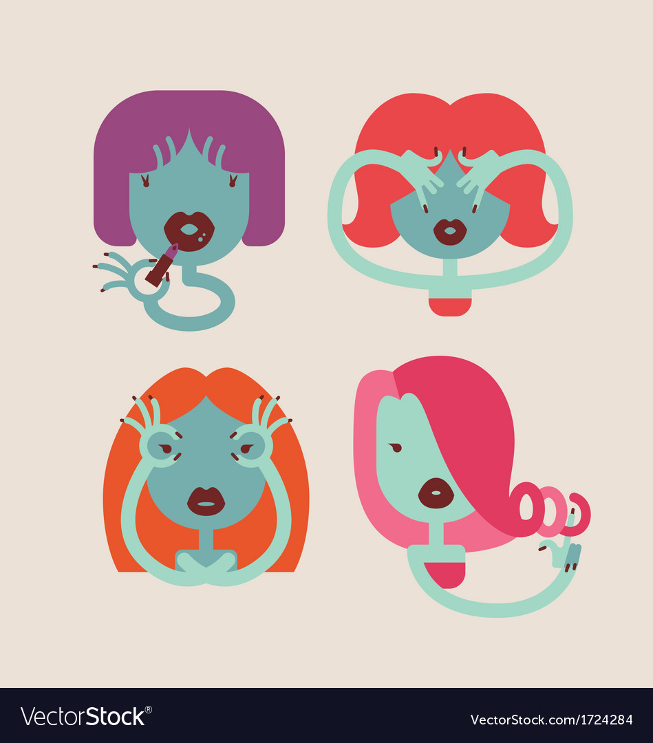 Cute monster girls vector image