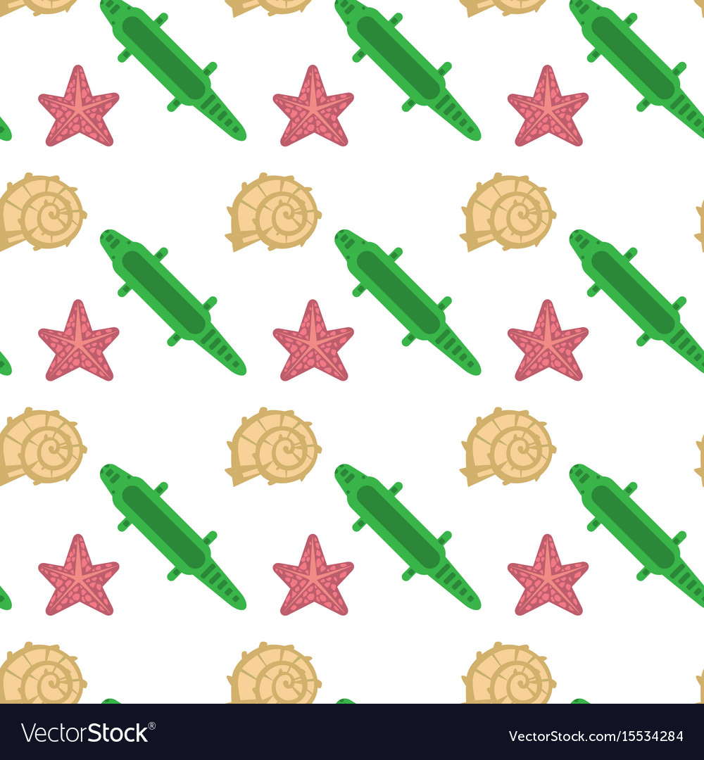 Sea shell star fish seamless pattern vacation vector image