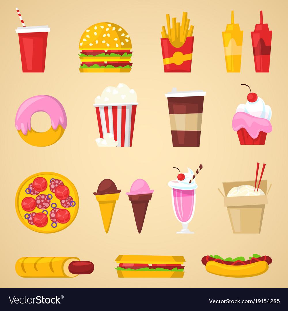 Fast food nutrition american hamburger or vector image