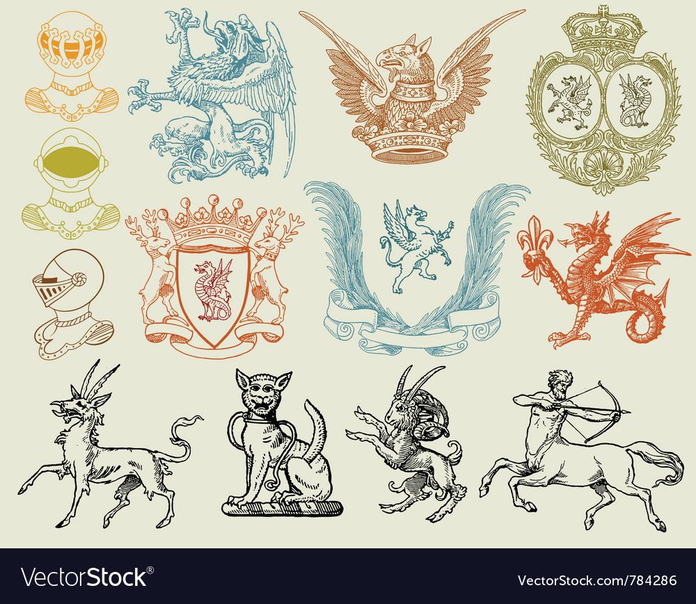 Heraldic set vector image